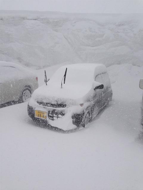行って戻ってきただけなのに、車にはすでに雪が積ってる……